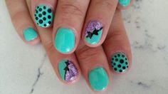 Teal nails polka-dot and bows