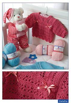Receita de Tricô: Casaquinho de trico em fio Bimbo Crochet Girls, Knit Or Crochet, Crochet For Kids, Crochet Toys, Baby Sweater Knitting Pattern, Baby Knitting, Knitting Patterns, Baby Cardigan, Baby Sweaters