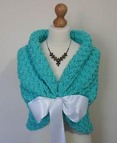 Mint Wedding Shawl Bridal Capelet Crochet Shawl by HandmadeLaremi