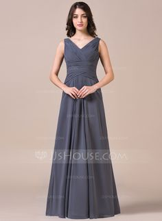 Different color A-Line/Princess V-neck Floor-Length Chiffon Bridesmaid Dress With Ruffle (007057713)