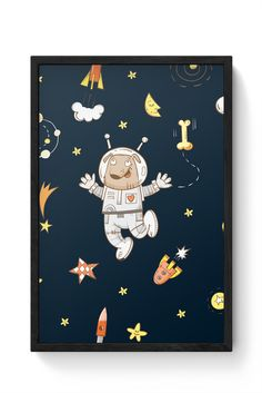 Space Dog Pattern Laminated Framed Poster