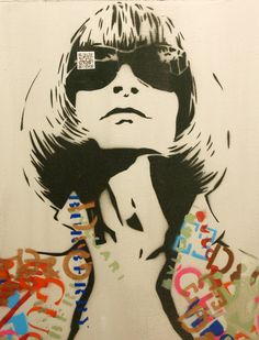ANNA WINTOUR Vogue Graffiti Pop Art Portrait 17x25 on Wood Original Painting in Spray Paint with Versace Prada Chanel