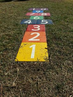 Hopscotch. Paint the stepping stones in back yard.