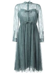 bow detailed lace dress