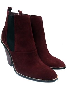 $256.00 on @Keaton Row website, arranged with full of fashion... click to see it in action. athé by Vanessa Bruno's Burgundy Wood-Heeled Boot is perfect for Fall in a rich color and savvy design details | Burgundy suede | Black elastic gore runs up sides | Stacked 4in / 10cm cherry wood heel | Leather foot bed.   Made in Spain