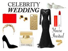 """""""Celebrity Wedding"""" by arijana-xx ❤ liked on Polyvore featuring Casadei, Givenchy, Maybelline, Laurel Wreath Collection, Cartier, Chanel, Marc by Marc Jacobs, Dolce&Gabbana, blackandgold and redandblack"""