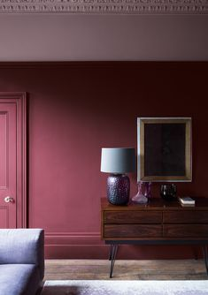 27 Fresh And Beautiful Living Room Paint Color Ideas Red living room paint color ideas Best Paint Colors, Room Paint Colors, Paint Colors For Living Room, Paintings For Living Room, Colour Schemes For Living Room, Color Schemes, Purple Rooms, Purple Walls, Burgundy Walls