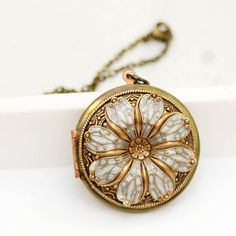 Medallón medallón de flor de amapola relicario por emmalocketshop