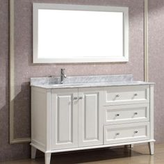 Studio Bathe Lily 55 in. Vanity in White with Marble Vanity Top in White and Mirror-LILY 55 WHITE-CARRERA - The Home Depot