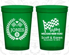 Welcome Wedding Race Fans, Wedding Cups, Racing Flags, Checkered Flag, Race Car Wedding Cups, Wedding Cup Favors (589)