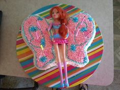 Winx club Bloom birthday cake for my daughter Alyssa All I did was a butterfly cake pan and one of her dolls.