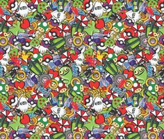 """Game On! fabric by labrattish on Spoonflower - custom fabric, wallpaper, and gift wrap. """"A mishmash of gaming classics and modern marvels from Mario to Bioshock."""