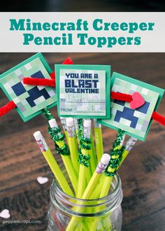 My boys are huge Minecraft fans, they can watch StampyLongNose videos all day if I let them. This year we decided to make Minecraft valentines, specifically Minecraft Creeper Pencil Topper Valentin… Kinder Valentines, Valentines For Boys, Valentine Box, Valentine Day Crafts, Valentine Ideas, Valentine Decorations, Valentine's Cards For Kids, Pencil Toppers, Free Candy