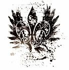 fleur de lis tattoes | More Like Fleur De Lis Wings Tattoo Distressed Plus Size T Shirt ...