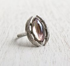 Vintage Pink Stone Ring - Signed Sarah Coventry 1970s Silver Tone Modernist Adjustable Costume Jewelry / Light Pink Marquise by Maejean Vintage on Etsy, $16.00