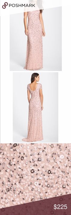 Adrianna Papell Short Sleeve Sequin Gown - blush MOB dress worn once - in perfect condition. Cleaned. This is a beautiful dress that was worn as a mother of the bride! So perfect and pretty! Adrianna Papell Dresses Wedding