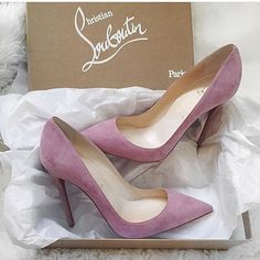 LOVELY! Pink suede Christian Louboutin round-toe pumps with covered heels http://api.shopstyle.com/action/apiVisitRetailer?id=502885902&pid=uid1209-1151453-20 #heels #highheels