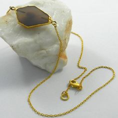 Unique Grey Onyx gemstone gold plated brass chain necklace, nice fashion jewelry #Handmade #Chain