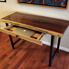 Custom Made Walnut Live-Edge Desk With Hand-Forged Metal Legs And Custom Laptop . Custom Made Walnut Live-Edge Desk With Hand-Forged Metal Legs And Custom Laptop Tray Entry Table With Drawers, Desk With Drawers, Metal Desk Legs, Wood Desk, Diy Office Desk, Home Office Decor, Live Edge Wood, Live Edge Table, Live Edge Furniture