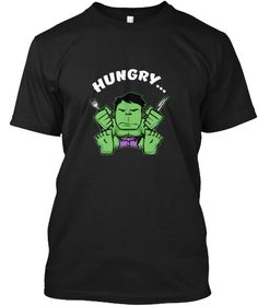 6a9f1dc13a5fb Hungry Fork Spoon Green Super Hero Tee Black T-Shirt Front Super Heros