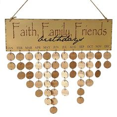YuQi Family Friends Wooden Calendar Board Gift For Home Reminder DIY Plaque (Faith,Family,Friends + Round Discs): Amazon.co.uk: Kitchen & Home