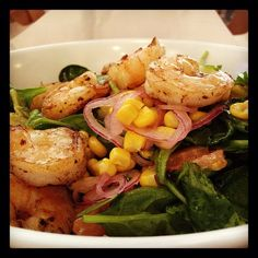(Photo by mitchellji Shrimp Avocado, Lemon Vinaigrette, Grilled Shrimp, Spinach, Onion, Palm, Chicago, Hearts, Red