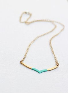 VShaped Chevron Geometric Color Dipped Necklace by AcuteDesigns, $28.00