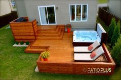 Patio Plus - Patio et spa. I love this simple set up & all the possibilities! Patio Plus - Patio et spa. I love this simple set up & all the possibilities! Hot Tub Deck, Hot Tub Backyard, Hot Tub Garden, Backyard Plan, Backyard Patio, Patio Deck Designs, Patio Design, Pergola Patio, Pergola Kits