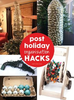 Post Holiday Organization Hacks! Lots of tips and tricks to help you put away all that Christmas decor.