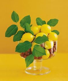 Decorate on the cheap. Fill a glass bowl with lemons for a sunny centerpiece. Or display a row of them along a windowsill.
