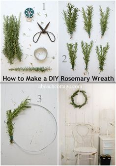 how to make a diy rosemary wreath abeachcottage.com how to make a quick and simple wreath from rosemary and greenery, more holiday decoratin...