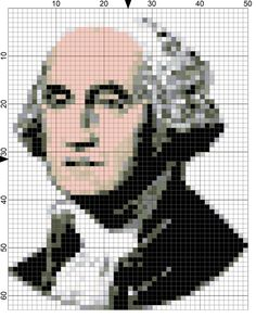 Stitch a Needlepoint Birthday Portrait of George Washington. The free needlepoint chart for Day 53 of 365 Needlepoint New Year's Resolutions was designed to commemorate the official birthday on February 22nd of George Washington, the first President of the United States.