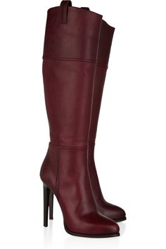 Invest in Emilio Pucci's rich plum leather knee boots to add a hit of color and luxury to new-season outfits. $620