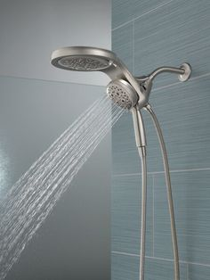 HydroRain® H2Okinetic® 5-Setting Two-in-One Shower Head 58680-SS | Delta Faucet Shower Arm, Rain Shower, Small Guest Rooms, Shower Together, Dual Shower Heads, Water Waste, Water Efficiency, Delta Faucets