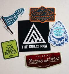 "6 Sticker Pack - 4"" Campers Club sticker - 3.5x3.5"" Logo sticker - 3"" Flag sticker - 3"" Arrowhead sticker - 3"" Mountain Badge sticker - 2"" Green Coastal sticker These stickers are designed to be place"