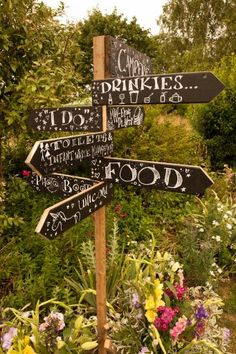 Fun garden wedding sign post -English country wedding