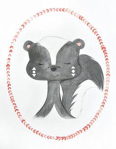 Skunk watercolor PRINT  -  nursery artwork - animal portrait - woodland creature - geometric -  coral - boho