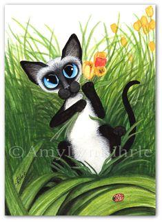 Siamese Cat Tulips for you Art by AmyLyn Bihrle by AmyLynBihrle