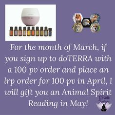 My special offer of you sign up in March.  Contact me via facebook - www.facebook.com/mysticcorner
