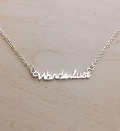 Wanderlust necklace - travel charm jewelry - dainty delicate silver traveler inspirational jewllery by WondersofWanderlust on Etsy