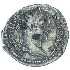 Caracalla Denar Silber, Av: ANTONINVS PIVS AVG, belorb. Kopf nach rechts, Rv: PONTIF TRP VIIII COS II, Mars mit Speer und Schild steht links