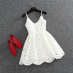 Vestido de fiesta corto de encaje con cuello en v lindo, vestido de fiesta #CON #CORTO #CUELLO #DE #EN #ENCAJE #fiesta #lindo #V #VESTIDO
