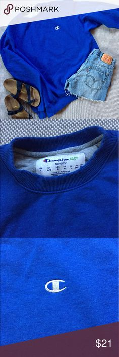 Champion logo pullover crew neck sweatshirt Perfect for your summer nights, this Champion pullover is from the Eco line of gorgeous, quality fleece. Size large, summery bright blue! Compare to champion pullovers sold at Urban Outfitters for over $50! Offers welcome! Urban Outfitters Tops Sweatshirts & Hoodies