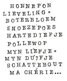 Honnepon, Lieveling, Boterbloem, Snoezepoes, Hartediefje, Pollewop, mijn liefje, mijn duifje, Schattebout, Ma Chérie... #mooiewoorden #voorelkaar