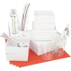 Clean, modern dining sets and tableware. Shop online for chic dinnerware sets, modern serving pieces, sleek flatware, minimalist drinkware and more. Modern Flatware, Flatware Set, Modern Dinnerware, Dinnerware Sets, Modern Placemats, Commercial Kitchen Equipment, White Dishes, Serving Utensils, A Table