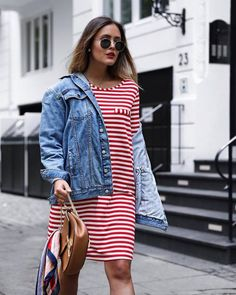 €29,99 Casual Stripe Dress Red and White Teamed With An Oversized Denim Jacket And A Printed Stripe Bandana €6,99