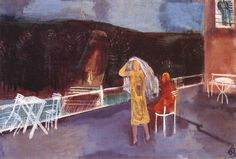 Bernáth, Aurél - On the Terrace, 1930 Oil Painting Reproductions, Terrace, Hand Painted, Paintings, Artists, Balcony, Patio, Paint, Painting Art