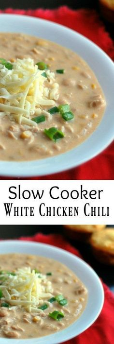 This Slow Cooker White Chicken Chili is an award winning recipe! It's one of those EASY dump and go crock pot recipes that takes less than 5 minutes to prep! One of our all time favorite meals!