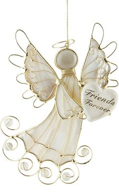 "[""Share this lovely Christmas angel ornament with someone special! Gold wire combines with pearly white material to create this beautiful Christmas ornament. In her arms, she holds a heart with the words \""Friends Forever.\"" A perfect gift for a friend or loved one, this Christmas angel will be a wonderful reminder of you much you care.Ornament hangs 6-1\/4\"" long.""] $9.99"