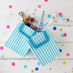 Stripy Blue And White Party Bags With Handle by Postbox Party, the perfect gift for Explore more unique gifts in our curated marketplace. Wedding Shower Favors, Baby Shower Party Favors, Birthday Party Favors, Baby Shower Balloons, Themed Parties, Party Bags, Nautical Theme, Baby Showers, Multiplication Chart